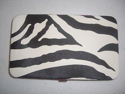 Womens Zebra Print Flat Wallet/checkbook Holder-fuchsia-free Us Shipping