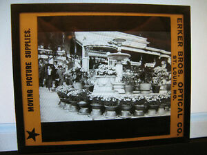 Antique-30s-40s-Magic-Lantern-Glass-People-near-Architecture-Fountain