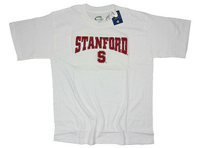 Stanford Cardinal Adult White Embroidered T Shirt Nwt