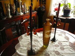"""Vase balustre élancé 15"""", verre soufflé style Murano satiné fumé"""
