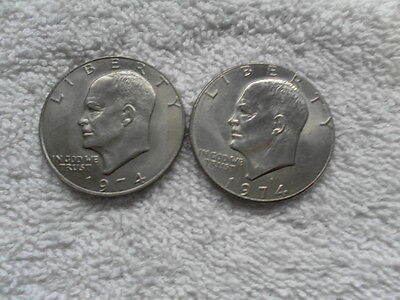 US   1974  &  1974 D   EISENHOWER DOLLAR   TWO COIN SET