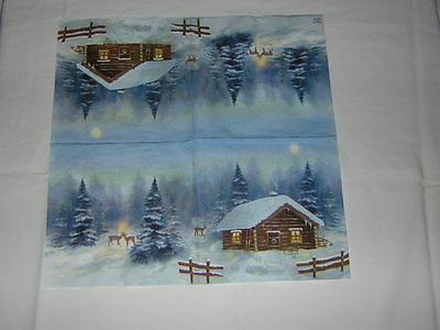 4 Servietten Hütte Berghütte REHE wald winter nacht Weihnachten berge MOND schne
