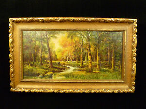 SIGNED-ORIGINAL-H-SCOTT-FOREST-LANDSCAPE-OIL-PAINTING-ON-CANVAS