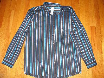 Mens Claiborne Blue Black Dress Casual Shirt Large L 100% Cotton