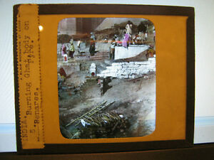 Antique-30s-40s-Indian-Magic-Lantern-Glass-Slide-Burning-Ghat-body-on-Pyre