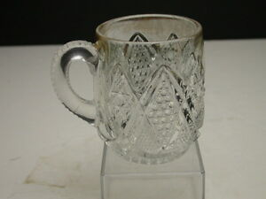 US-Glass-Minnesota-Mug-w-Pressed-Handle-Clear-Gold-Stain-3-3-8-T-ca-1898