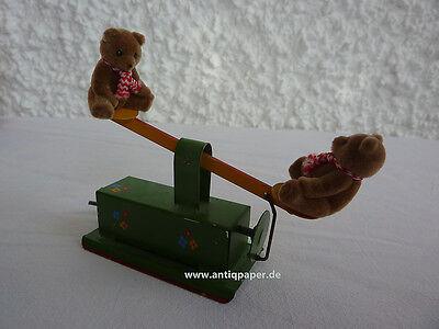 Blechspielzeug Sheet metal toy Schaukel mit Teddy-Bären Teddy Bear