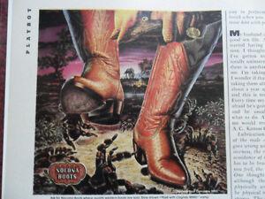 1982 Print Ad Nocona Cowboy Boots ~ Tarantula Spider Alex Ebel Western ART