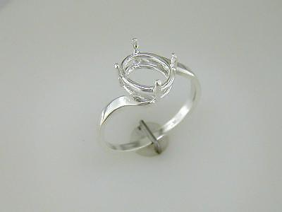 Oval Bypass Wire Mount Ring Setting Sterling Silver