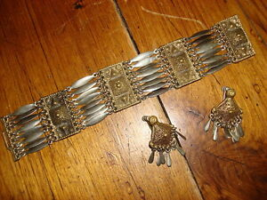 Vintage-MEXICO-SILVER-BRACELET-DANGLING-EARRINGS-SET