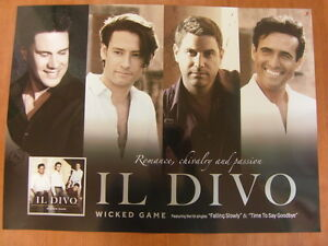 Il divo wicked game 2sided official poster new for Il divo wicked game