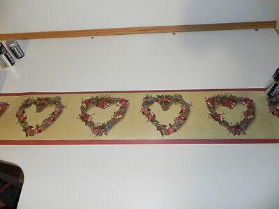 Wallpaper Border Burgundy Edge; Heart Shaped Grapevine Wreaths & Flower's
