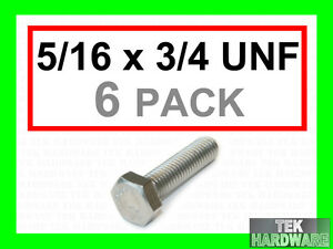 Stainless-Steel-UNF-Imperial-Hex-Head-Bolts-Setscrews-5-16-x-3-4-6Pk