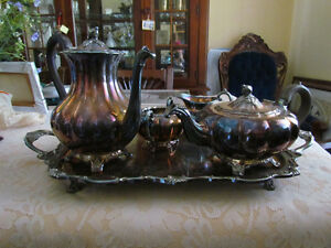 Siver Tea & Coffee set w/creamer &sugar&tray Exc,Cond. Cambridge Kitchener Area image 2