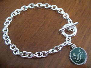USF-University-of-South-Florida-Bulls-SILVER-TOGGLE-CHARM-BRACELET-jewelry