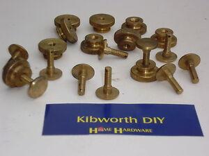 10 x 2BA BRASS KNURLED TERMINAL BOLTS WITH NUTS thumb screw screws radio tv