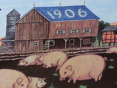 Pig / Hog Sign -- FARMER'S FEED & SEED - Shows an Old 1906 Barn & 11 Little Pigs