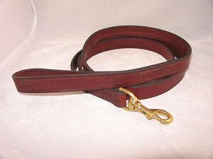 6-Ft-x-7-8-Amish-Made-Leather-Dog-Leash-Brown-Brass-Black-Silver-Black-Brass