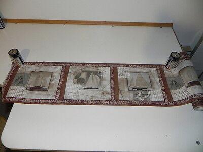 New Wallpaper Border 3 Sailboats in brown's & Antique golden type trim