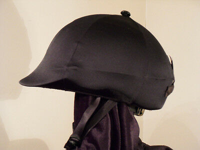 English Equestrian Horse Riding Helmet Black Lycra Cover With Button & Bow