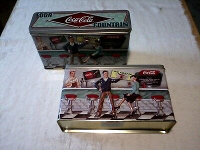 Two Retro 1997 Coca~Cola Collectible Diner Tins + Pill Box ~ New! ~ Only $24.75!