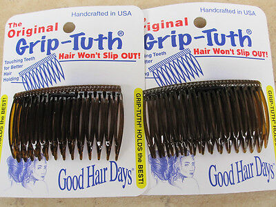 """2 pack Shell Grip-Tuth  Side Comb 14 Teeth 2 3/4"""" Made in USA 4 Combs New #414"""