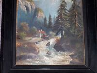 Oil on Board Mountain Scene