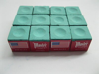NEW One Dozen (12 pieces) GREEN Master Chalk Billiard Pool Table