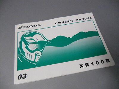 Owners Owner's Manual 2003 Honda Xr100r 31kn4780