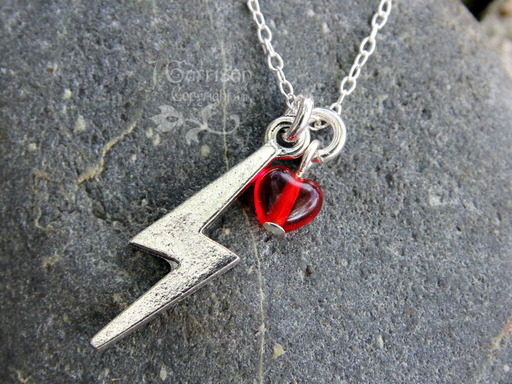 Lightning Bolt & Heart Necklace- Sterling Silver Chain- Love, Magic, Power, Rock
