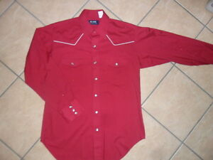 Blair pearl snap western shirt red wine vtg burgundy for Red wine out of white shirt