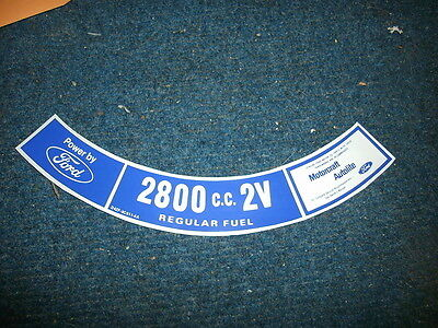 1974 Ford Pinto Mustang Ii Cortina Mercury Capri 2800cc Air Cleaner Top Decal