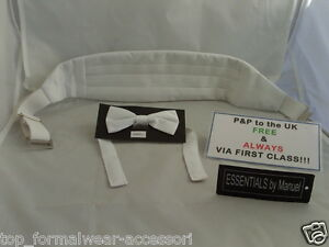 Page-Boy-Wedding-Children-WHITE-Bow-tie-and-Cummerbund-Set-20-Up-to-30-Waist