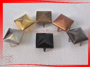 10mm-Pyramid-Studs-Rock-Design-spikes-spots-Silver-Gold-Brass-Black-Gunmetal-DIY