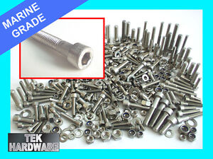 Marine Grade Stainless Steel Allen Bolts, Nuts and Washers 400 Piece Assortment