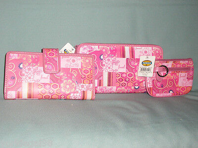 Fossil Color Zip Pink Floral Set Of 3 - Clutch, Checkbook, Coin Purse Keychain