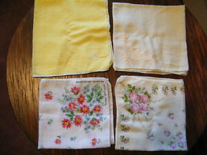 Collectible-Ladies-Handkerchiefs-Set-of-4-Print-Embroidered-Signed-Made-in-USA