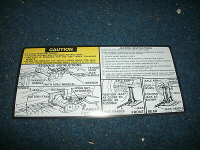 1978 1979 Chevrolet / Gmc Truck Jack Instructions Decal Sticker
