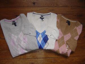 New-Authentic-NWT-TOMMY-HILFIGER-Womens-Sweater-Pima-Cotton-V-Neck-Argyle