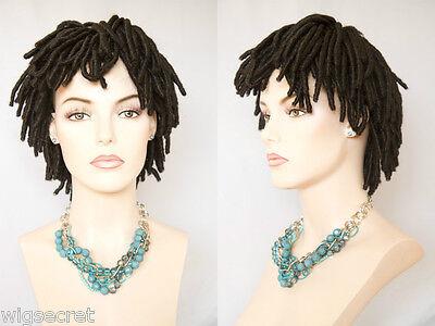 Short Black Brown Or Auburn Dreadlock Shag Wigs