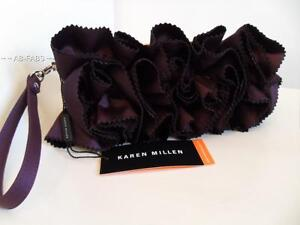 KAREN-MILLEN-Ladies-Aubergine-Purple-Satin-Ruffle-Evening-Wrislet-Clutch-Bag-UK