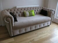Two New and Unused 3 (4) seater crushed velvet Chesterfield sofas with Swarovski crystals quick sale