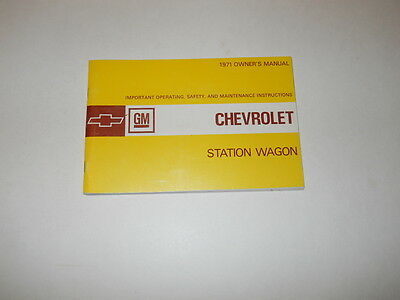 1971 Chevrolet Station Wagon Owner's Manual Pt. 3991058 First Edition