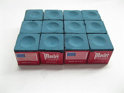 NEW One Dozen ( 12 pieces ) BLUE Master Chalk Billiard Pool Table