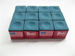 NEW One Dozen (12 pieces) BLUE Master Chalk Billiard Pool Table