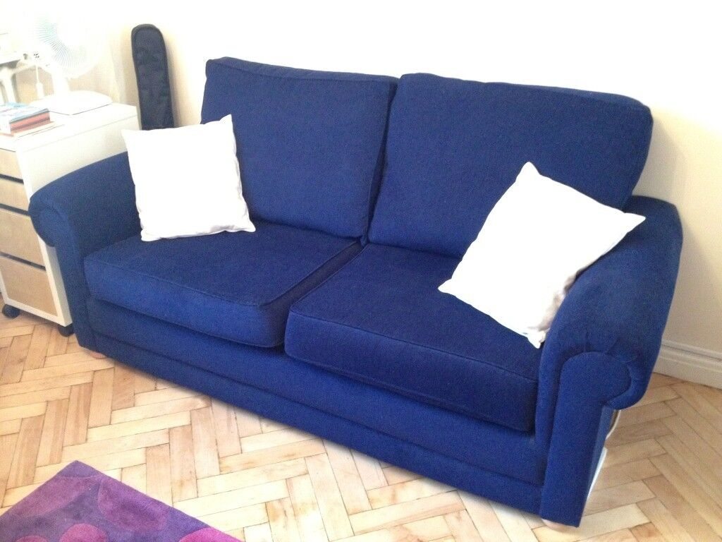 three seater navy blue sofa in hammersmith london gumtree. Black Bedroom Furniture Sets. Home Design Ideas