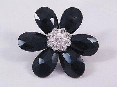 12 New Wholesale Huge Genuine Crystal Flower Stretch Rings #R1050