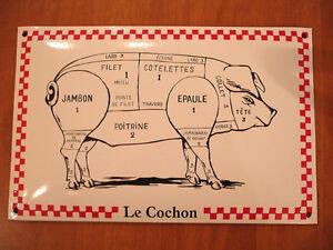 Plaque emaillee bomb e le cochon porc decoupe viande for Plaque emaillee ancienne cuisine
