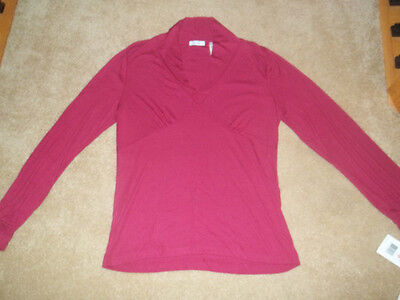 Liz & Co Woman's Long Sleeve Burgundy/ Dark Pinkish Large Top