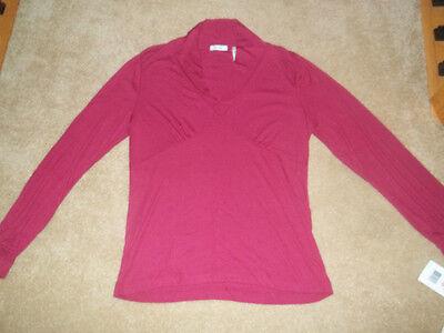 Liz & Co Woman's Long Sleeve Burgundy/ Dark Pinkish Large Top
